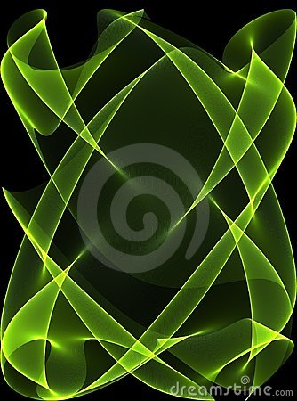 Green Glowing Lines on Black