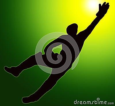 Green Gold Back Sport Silhouette Wicket Keeper