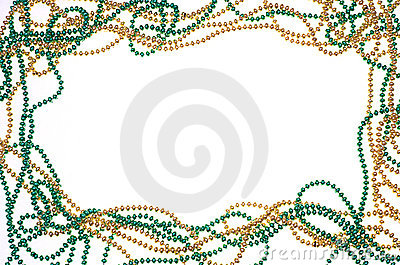 Green and gold bead frame