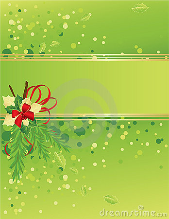 Green and gold Christmas card with christmas tree