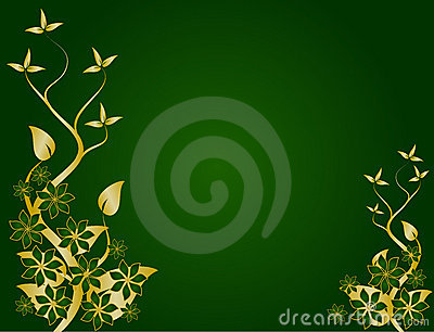 Gold And Green Decorative Floral Background. Stock Illustration ...