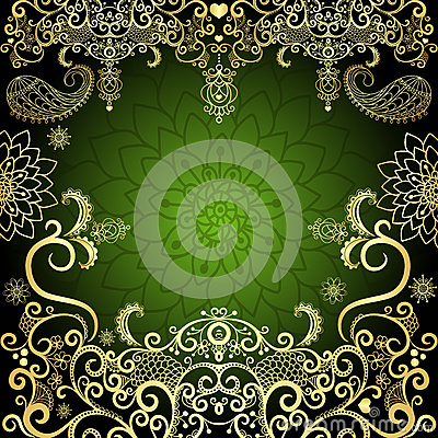 Free Green-gold Vintage Floral Frame Stock Photography - 29786262