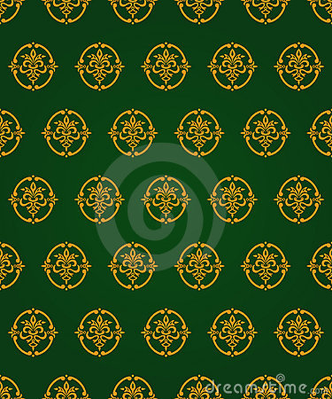 Green and gold vintage pattern