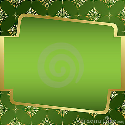 Green and golden frame - vector