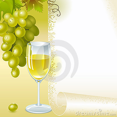 Green grapes and glass white wine