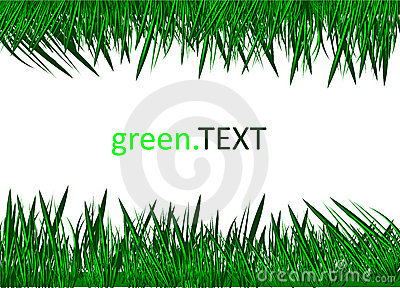 Green Grass Against A White Background.