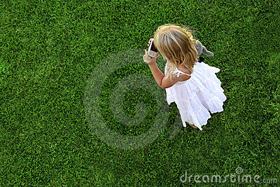 Green grass background and girl