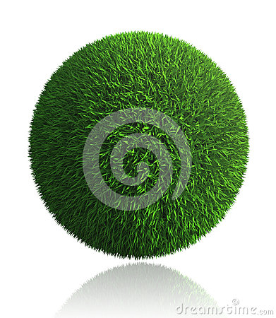 Green grass ball on white background