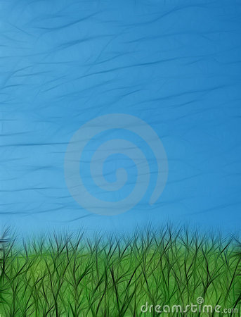 Green grass blue sky fractal