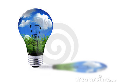 Green Grass and Blue Sky in a Lightbulb Energy Con