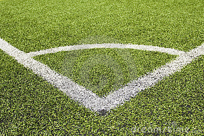 Green grass and corner lines of a football field