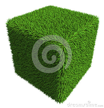 Green grass cube isolated on white background