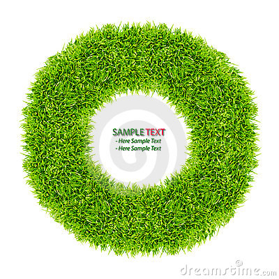 Green grass donut frame isolated