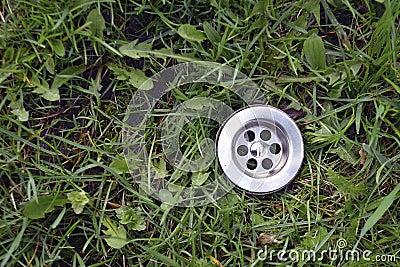 Green grass drain