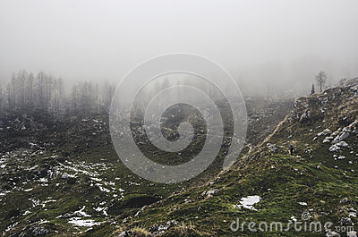Green Grass With Grey And White Surface Mountain With Fog Free Public Domain Cc0 Image