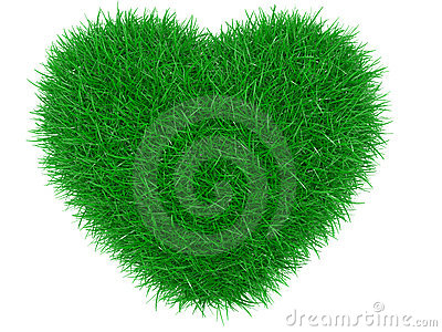 Green grass heart shape.