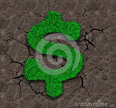 Free Green Grass In Dollar Sign Shape On Soil Background Stock Photography - 121421232