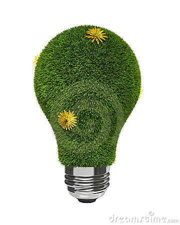 Green Grass Light Bulb with Yellow Flowers