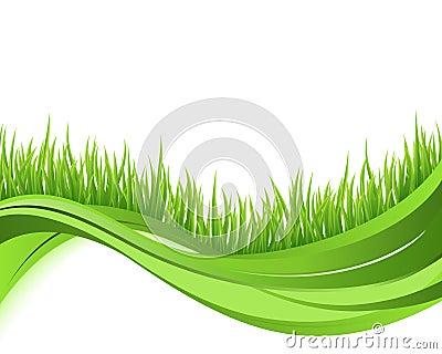 Green grass nature wave background