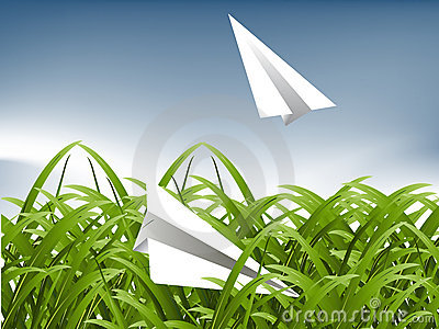 Green Grass and paper plane
