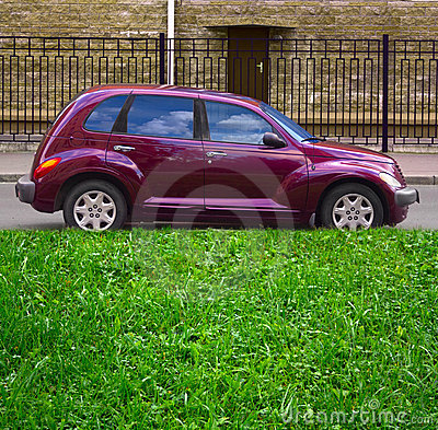 Green grass, purple car