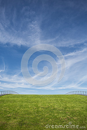 Free Green Grass Roof And Blue Sky Royalty Free Stock Photos - 44567658