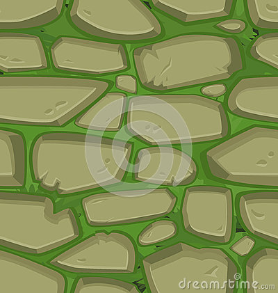 Green grass with stones. Seamless