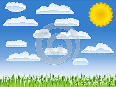 Green grass, sun and clouds