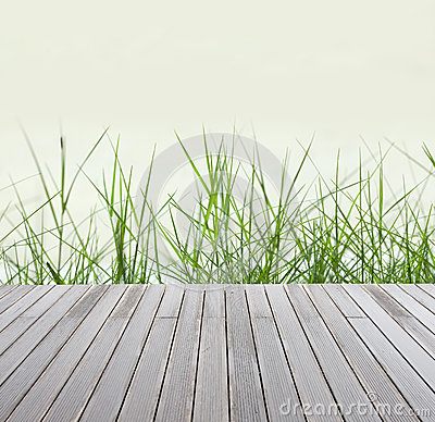 Green grass  and wood floor