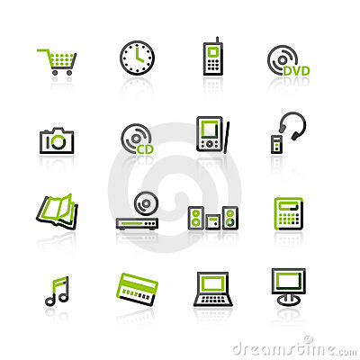 Free Green-gray E-shop Icons Royalty Free Stock Images - 3816229