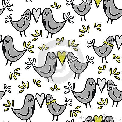 Green gray lovely kissing birds on white