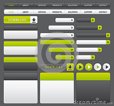 Green and grey website buttons template.