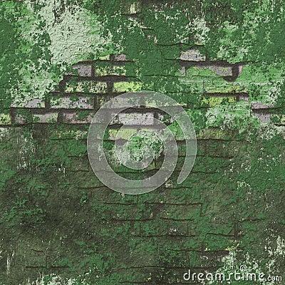 Green Grunge Seamless Background Brick Wall