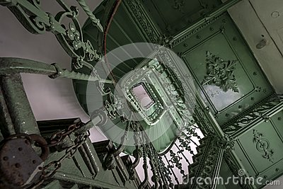 Green, grunge staircase