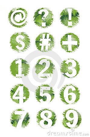 Free Green Grunge Textured Number And Symbol Set- 1-9 Royalty Free Stock Images - 9965919