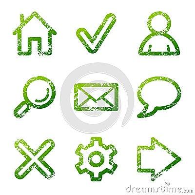 Green grunge web icons