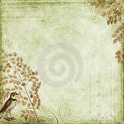 Green Grungy background design with bird, leaves