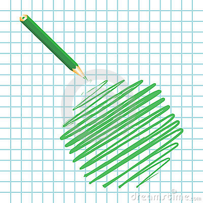 Green handwritten hexagon