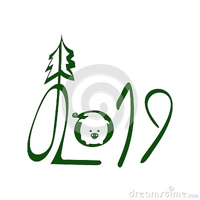 2019. Green Handwritten Lettering With Pig Negative Logo Vector Illustration