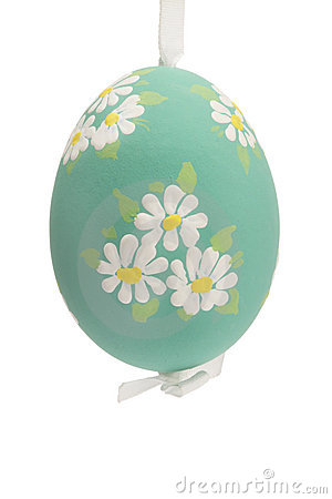 Green hanging hand painted easter egg