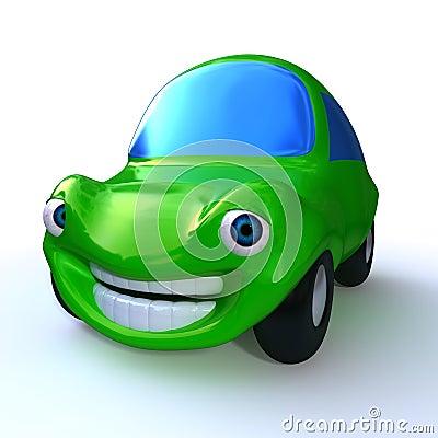 Green happy car isolated