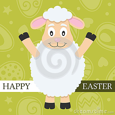 Green Happy Easter Card with Lamb