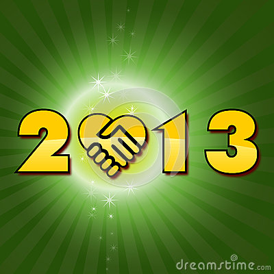 Green Happy new 2013 year shaking hands