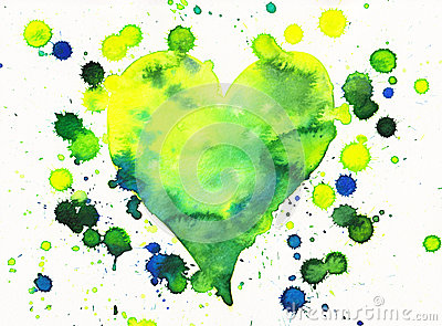 Green heart with paint splashes