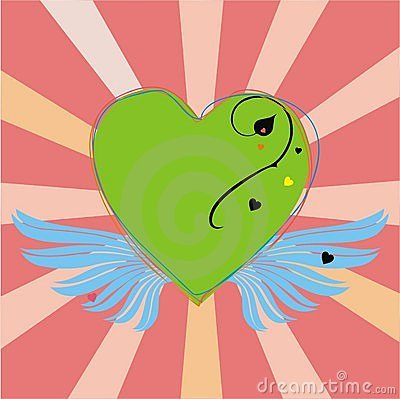 Green heart with wings on pink