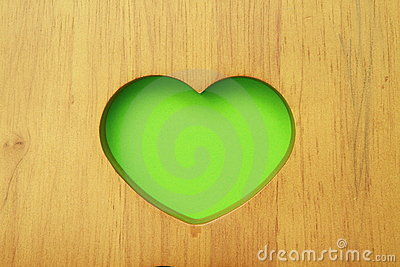 Green heart in wood
