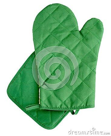 Green heat protective mitten