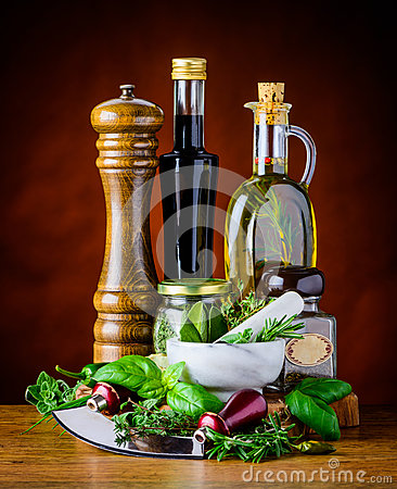 Free Green Herbs, Food Seasoning And Olive Oil Royalty Free Stock Image - 67408246