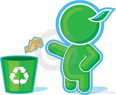 Green Hero throwing Garbage to the Recycle Contain