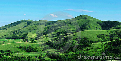 Green hill panorama view